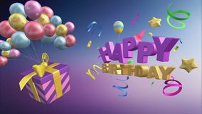 Cumprimento do feliz aniversario com balões e presentes no formato 3d ilustração royalty free