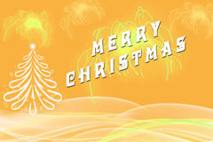 Cumprimento do Feliz Natal escrito ao lado do Natal Fotos de Stock Royalty Free