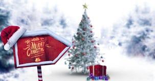 Cumprimento do Natal com mensagem do Feliz Natal ilustração do vetor