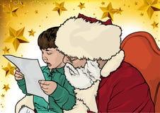 Cumprimento do Natal com Santa Claus e Little Boy ilustração royalty free