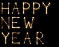 Cumprimento do texto do chuveirinho da fonte do ano novo no fundo preto Imagens de Stock
