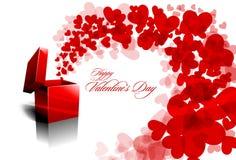 Cumprimento do Valentim com corações de espalhamento Fotografia de Stock