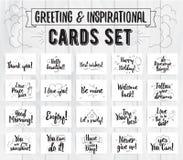 Cumprimento e grupo de cartões inspirado Projeto tipográfico do vetor Citações caligráficas, desejos, cumprimentos Mão desenhada ilustração royalty free