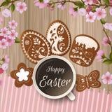 Cumprimento feliz da Páscoa, pão-de-espécie sob a forma dos ovos Feriados da mola, fundo da Páscoa Fotografia de Stock Royalty Free