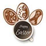 Cumprimento feliz da Páscoa, pão-de-espécie sob a forma dos ovos Feriados da mola, fundo da Páscoa Imagem de Stock