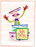 Cumprimento feliz do aniversário do palhaço ilustração royalty free