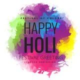 Cumprimento feliz do festival de Holi, celebração de Holi, projeto do vetor Foto de Stock