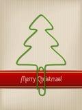 Cumprimento listrado do Natal com o clipe de papel dado forma árvore Imagens de Stock