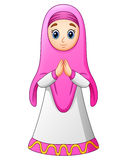 Cumprimento muçulmano dos desenhos animados das mulheres ilustração do vetor