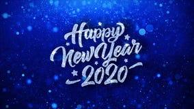 Cumprimentos azuis das partículas dos desejos do texto do ano novo feliz 2020, convite, fundo da celebração