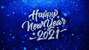 Cumprimentos azuis das partículas dos desejos do texto do ano novo feliz 2021, convite, fundo da celebração
