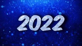 2022 cumprimentos azuis das partículas dos desejos do texto do ano novo feliz, convite, fundo da celebração