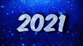 2021 cumprimentos azuis das partículas dos desejos do texto do ano novo feliz, convite, fundo da celebração