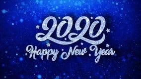 2020 cumprimentos azuis das partículas dos desejos do texto do ano novo feliz, convite, fundo da celebração