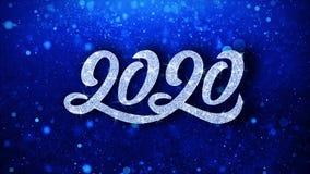 2020 cumprimentos azuis das partículas dos desejos do texto, convite, fundo da celebração