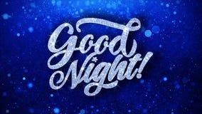 Cumprimentos azuis das partículas dos desejos do texto da boa noite, convite, fundo da celebração