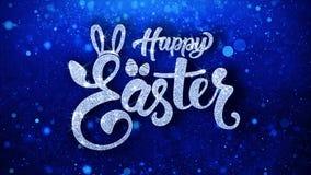 Cumprimentos azuis das partículas dos desejos do texto da Páscoa feliz, convite, fundo da celebração