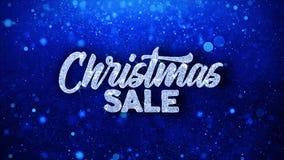 Cumprimentos azuis das partículas dos desejos do texto da venda do Natal, convite, fundo da celebração