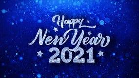 Cumprimentos azuis das part?culas dos desejos do texto do ano novo feliz 2021, convite, fundo da celebra??o