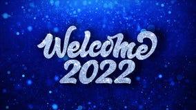 Cumprimentos azuis das part?culas dos desejos do texto do ano novo feliz 2022, convite, fundo da celebra??o