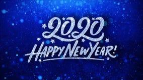 2020 cumprimentos azuis das part?culas dos desejos do texto do ano novo feliz, convite, fundo da celebra??o