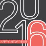 Cumprimentos - cartão do ano novo feliz do estilo ou fundo retro abstrato, molde criativo do projeto - 2016 fotografia de stock