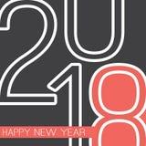 Cumprimentos - cartão do ano novo feliz do estilo ou fundo retro abstrato, molde criativo do projeto - 2018 Imagens de Stock