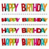 Cumprimentos coloridos do feliz aniversario Imagem de Stock Royalty Free