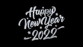 Cumprimentos 2022, convite, fundo das partículas dos desejos do texto piscar do ano novo feliz da celebração