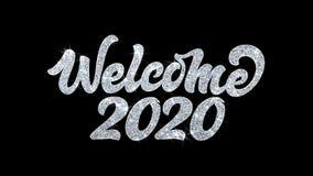 Cumprimentos 2020, convite, fundo das partículas dos desejos do texto piscar da boa vinda da celebração