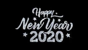 Cumprimentos 2020, convite, fundo das part?culas dos desejos do texto piscar do ano novo feliz da celebra??o