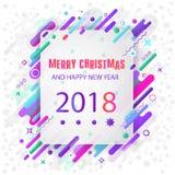 Cumprimentos das estações 2018 anos novo feliz Projeto colorido, contemporâneo da abstração Foto de Stock Royalty Free