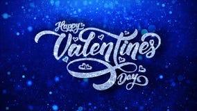 Cumprimentos das partículas de Valentine Day Blue Text Wishes, convite, fundo da celebração