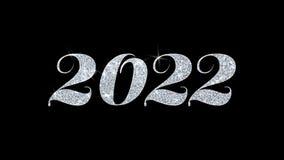 2022 cumprimentos das partículas dos desejos do texto piscar do ano novo feliz, convite, fundo da celebração