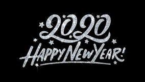 2020 cumprimentos das partículas dos desejos do texto piscar do ano novo feliz, convite, fundo da celebração