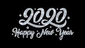 2020 cumprimentos das part?culas dos desejos do texto piscar do ano novo feliz, convite, fundo da celebra??o