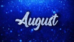 Cumprimentos de August Blue Text Wishes Particles, convite, fundo da celebração