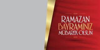 Cumprimentos de Eid al-Fitr Mubarak Islamic Feast turcos: Mês de Ramazan Bayraminiz Mubarek Olsun Holy da comunidade muçulmana Ra ilustração royalty free