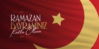 Cumprimentos de Eid al-Fitr Mubarak Islamic Feast turcos: M?s de Ramazan Bayraminiz Kutlu Olsun Holy da comunidade mu?ulmana Rama ilustração royalty free