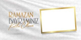 Cumprimentos de Eid al-Fitr Mubarak Islamic Feast turcos: M?s de Ramazan Bayraminiz Kutlu Olsun Holy da comunidade mu?ulmana Rama ilustração do vetor
