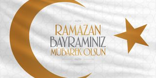 Cumprimentos de Eid al-Fitr Mubarak Islamic Feast turcos: M?s de Ramazan Bayraminiz Mubarek Olsun Holy da comunidade mu?ulmana Ra ilustração do vetor