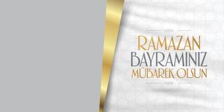 Cumprimentos de Eid al-Fitr Mubarak Islamic Feast turcos: M?s de Ramazan Bayraminiz Mubarek Olsun Holy da comunidade mu?ulmana Ra ilustração stock