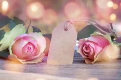 Cumprimentos de Rosa para o dia de Valentim Foto de Stock Royalty Free