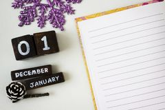 Cumprimentos do ano novo em um caderno aberto Imagem de Stock Royalty Free