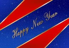 Cumprimentos do ano novo pelo ano 2019 com fundo azul brilhante com estrelas de incandescência e triângulos vermelhos nos cantos  ilustração royalty free