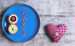 Cumprimentos do cartão as mulheres internacionais dia do 8 de março Fotos de Stock
