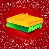 Cumprimentos do Feliz Natal com neve Fotografia de Stock Royalty Free