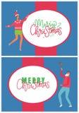 Cumprimentos do Feliz Natal do partido do vetor dos povos ilustração royalty free