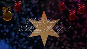 Cumprimentos do Natal e do ano novo na estrela com o bokeh azul e roxo no fundo ilustração do vetor