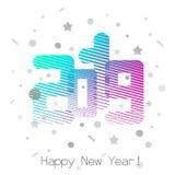 2019 cumprimentos do ` s do ano novo, rotulação do disco, retro ilustração royalty free